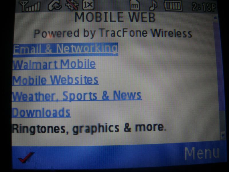 Samsung R355C Web Browser Menu
