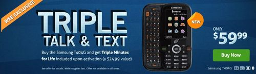 TracFone Triple Talk and Text Samsung T404G