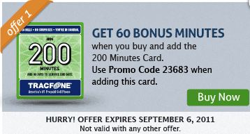 TracFone Promo Code September 2011 60 free on 200 Card