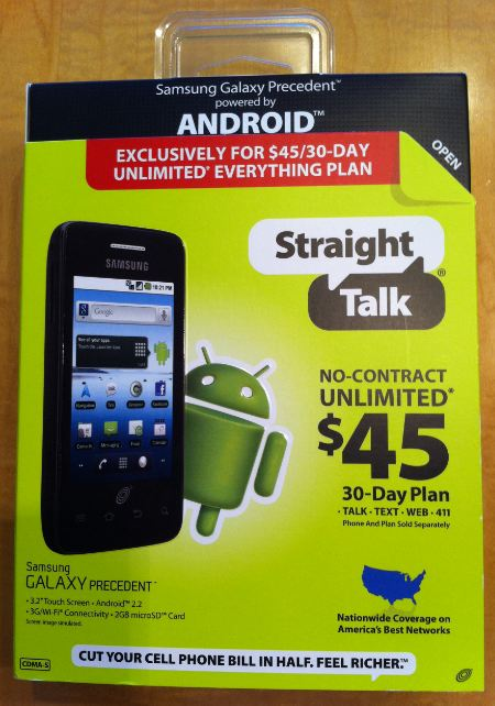 Straight Talk Samsung Galaxy Precedent Box