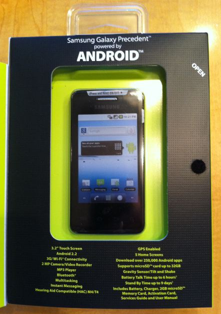 Straight Talk Samsung Galaxy Precedent Inside Box