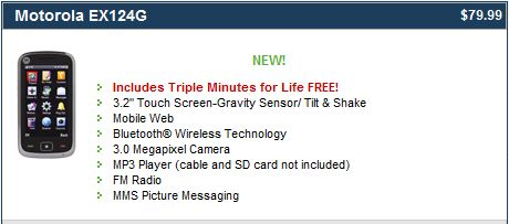 TracFone Motorola EX124G Triple Minutes For Life