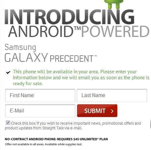 Straight Talk Samsung Galaxy Precedent Notify